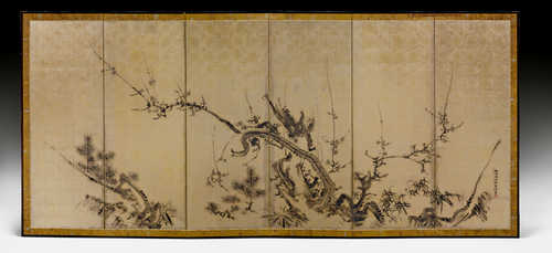 A SIXFOLD SCREEN BY KANO EISHIN (ISEN'IN; 1755-1828).