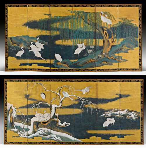 A PAIR OF SIX-FOLD SCREENS WITH HERONS IN WINTER AND SUMMER.