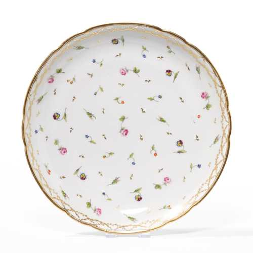 2 ROUND BOWLS WITH SCATTERED FLOWERS IN PINK AND GOLD,