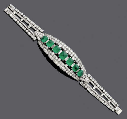 EMERALD AND DIAMOND BRACELET, probably by CARTIER PARIS, ca. 1950.