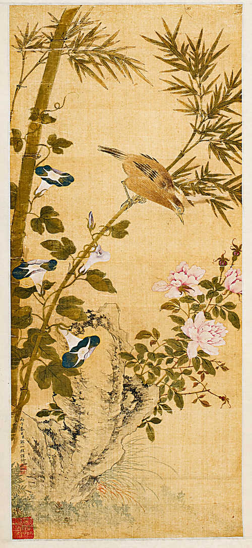 A FLOWER AND BIRD PAINTING IN THE STYLE OF ZOU YIGUI (1686-1772).
