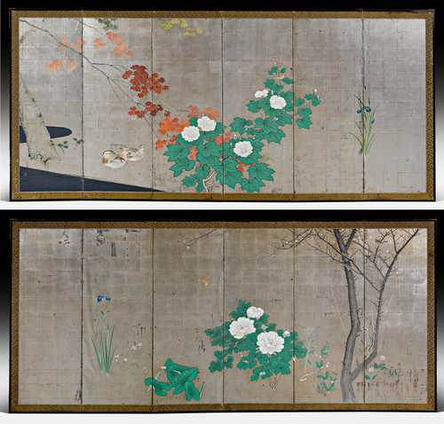 A PAIR OF SIXFOLD SCREENS DEPICTING A PAIR OF DUCKS IN THE FOUR SEASONS.