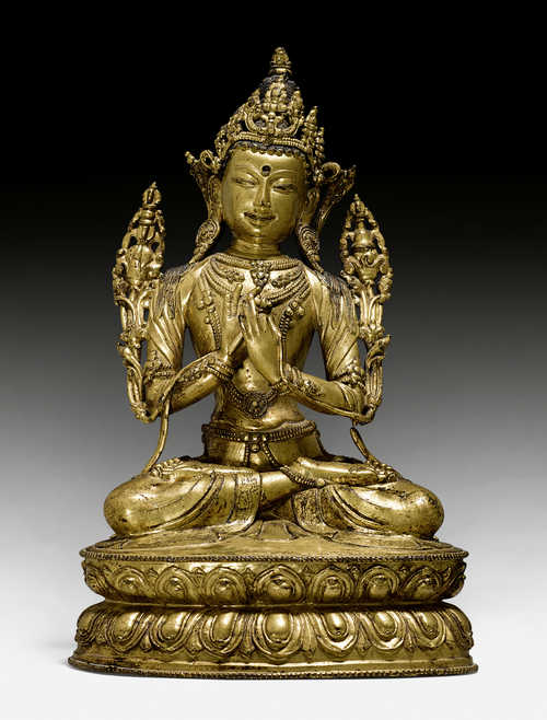 A FINE GILT COPPER ALLOY FIGURE OF VAJRADHARA.