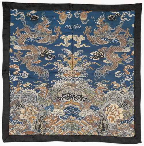 BLUE GROUND BROCADE WITH DRAGONS.