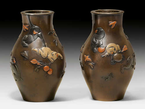 A PAIR OF VASES WITH PLAYFUL MONKEYS BY MIYABE ATSUYOSHI.