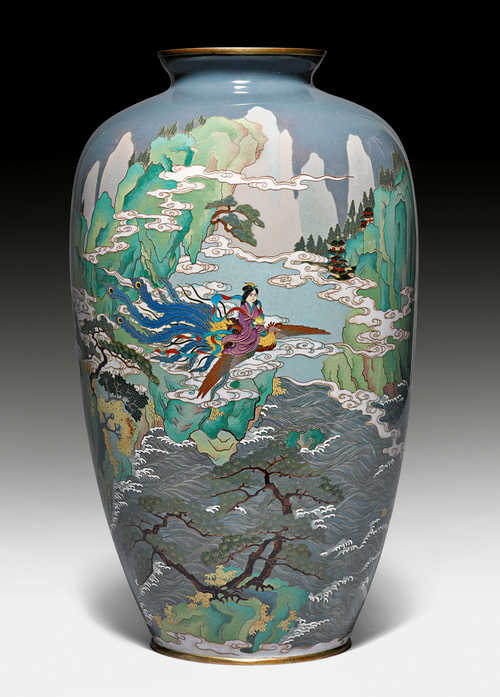 A CLOISONNÉ VASE DEPICTING SEIOBO RIDING ON A PHOENIX.