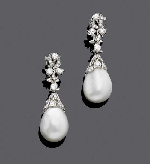 NATURAL PEARL AND DIAMOND EAR PENDANTS.