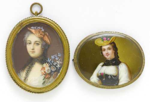 LOT COMPRISING 2 PORTRAIT MINIATURES,