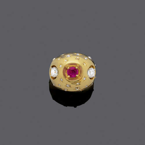 RUBY AND DIAMOND RING, by CARTIER, ca. 1940.