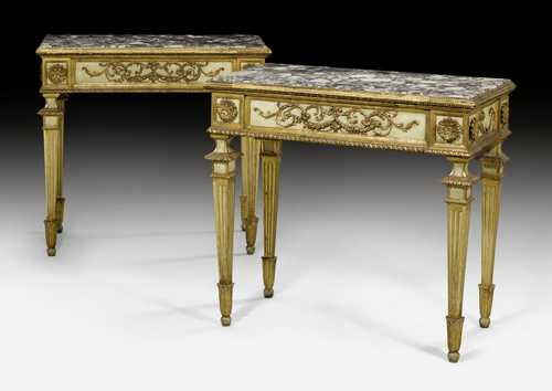 PAIR OF PAINTED CONSOLE TABLES,