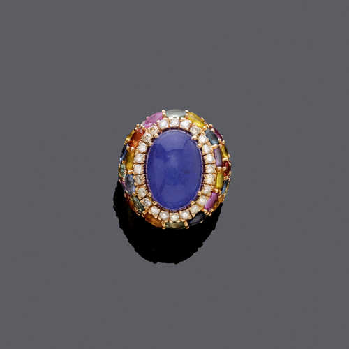 TANZANITE, MULTICOLOUR SAPPHIRE AND DIAMOND RING.