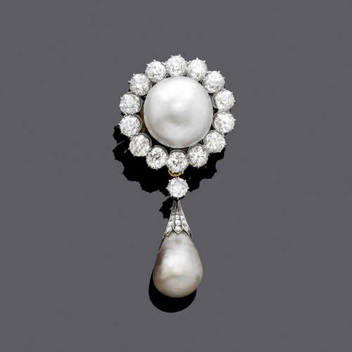 NATURAL PEARL AND DIAMOND BROOCH, ca. 1900.