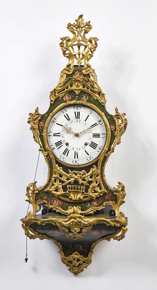 PAINTED PENDULUM CLOCK ON PLINTH, WITH DATE