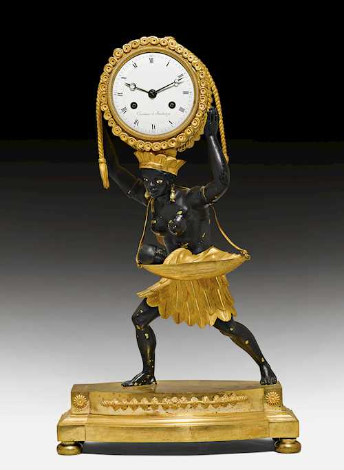 "MANTEL CLOCK ""LA NOURRICE AFRICAINE"", WITH PENDULUM"