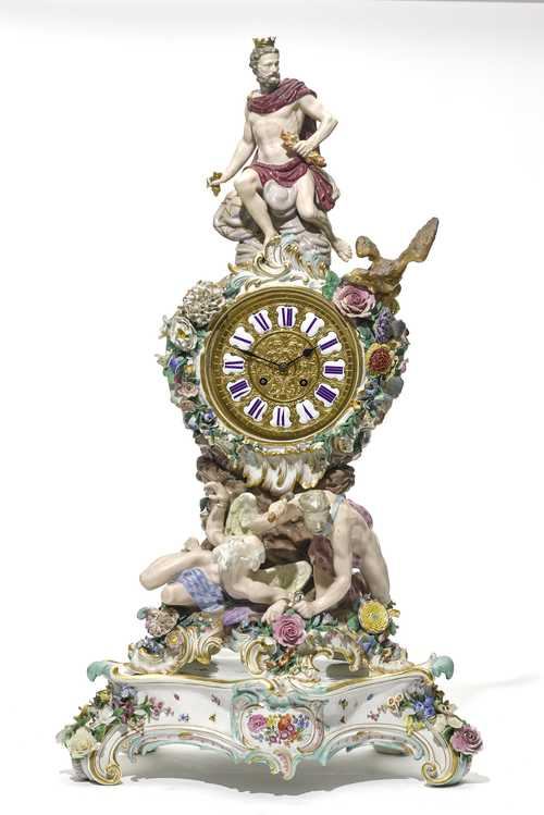 PORCELAIN MANTEL CLOCK WITH PENDULUM,