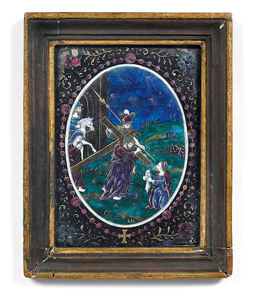 ENAMEL PLAQUE WITH A STATION OF THE CROSS,