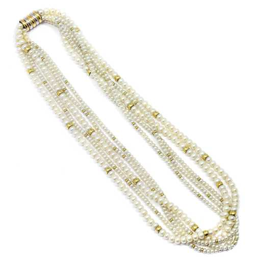 PEARL AND GOLD TORSADE / NECKLACE.
