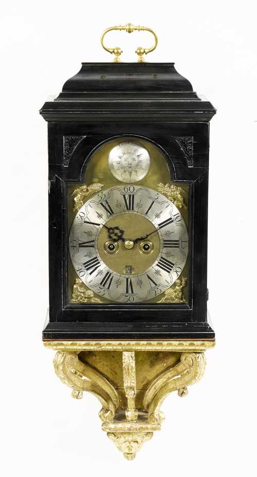 BRACKET CLOCK WITH DATE ON ASSOCIATED BASE,
