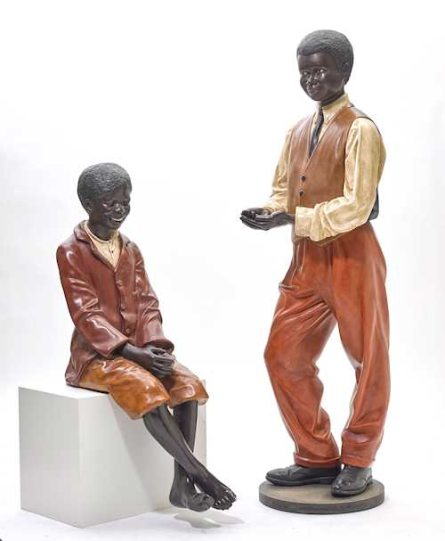 LOT OF 2 LARGE FIGURES IN THE STYLE OF THE 1920s,
