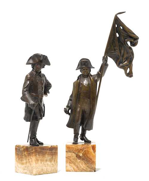 LOT OF 2 BRONZE FIGURES, DESIGNED AS NAPOLÉON BONAPARTE AND FREDERICK THE GREAT,