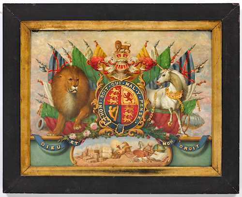 PAINTED PANEL WITH THE COAT OF ARMS OF THE ENGLISH ROYAL FAMILY,