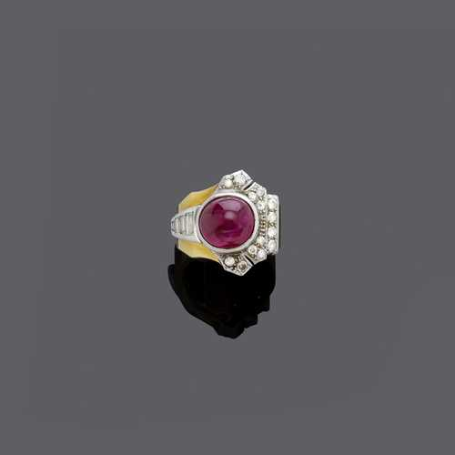 RUBY AND DIAMOND RING, ca. 1935.