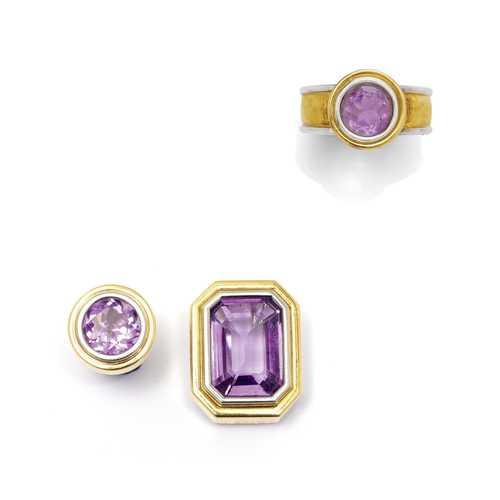 AMETHYST AND GOLD RING WITH PIN AND BROOCH.