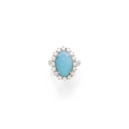 TURQUOISE AND DIAMOND RING.