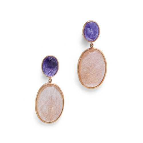 RUTILE QUARTZ AND TANZANITE EARRINGS.