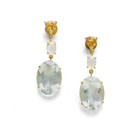PRASIOLITE, OPAL AND CITRINE EARRINGS.