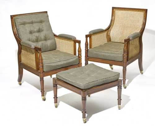 PAIR OF FAUTEUILS AND 1 STOOL,
