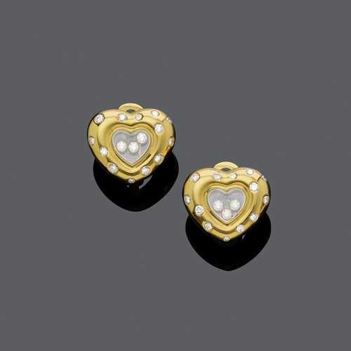 DIAMOND AND GOLD HEART EARCLIPS, BY CHOPARD.