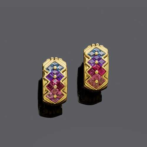 MULTIGEM AND GOLD EARCLIPS, BY BULGARI.