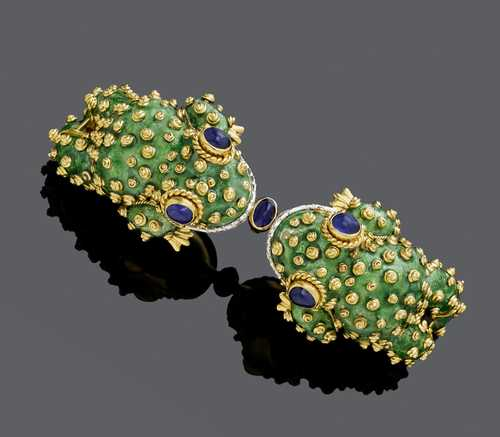 ENAMEL, DIAMOND AND SAPPHIRE BRACELET, BY DAVID WEBB, ca. 1960.