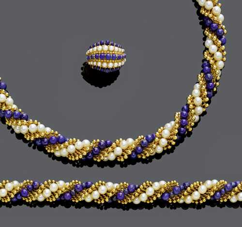 LAPIS LAZULI, PEARL AND GOLD NECKLACE WITH BRACELET AND RING, BY VAN CLEEF & ARPELS, ca. 1962.