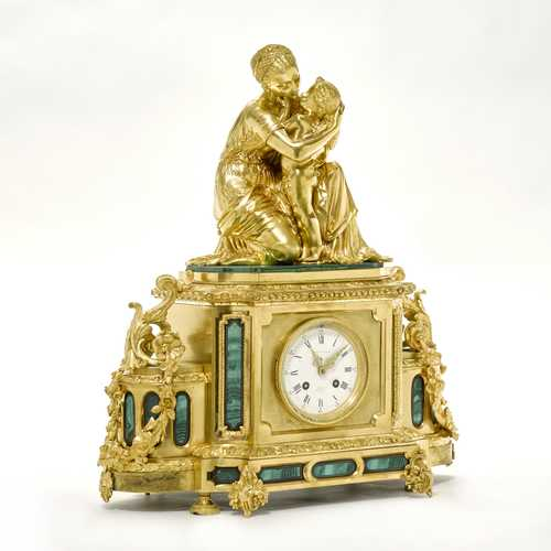 MANTEL CLOCK with malachite inlays,