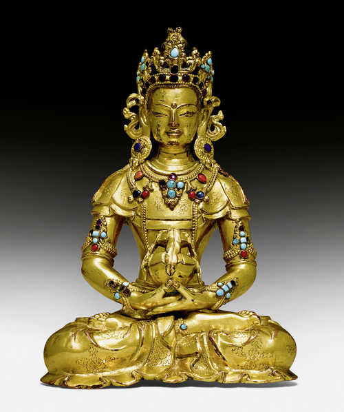 A FINE GILT COPPER ALLOY FIGURE OF AMITAYUS.