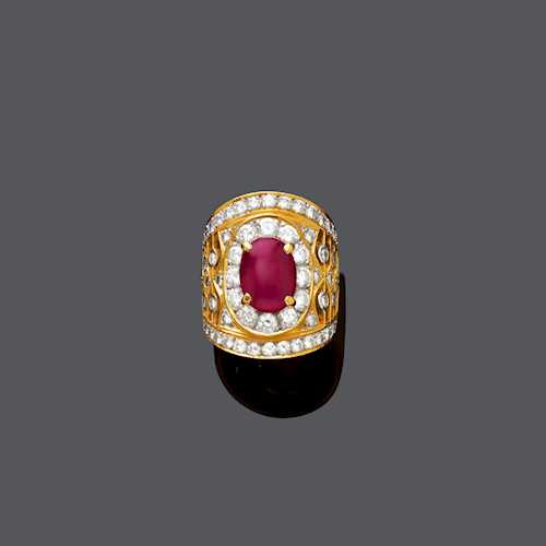 RUBY AND DIAMOND RING, ca. 1980.