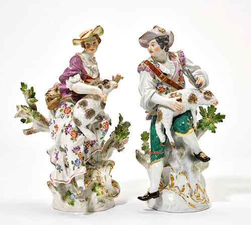 A PAIR OF SHEPHERD FIGURES,