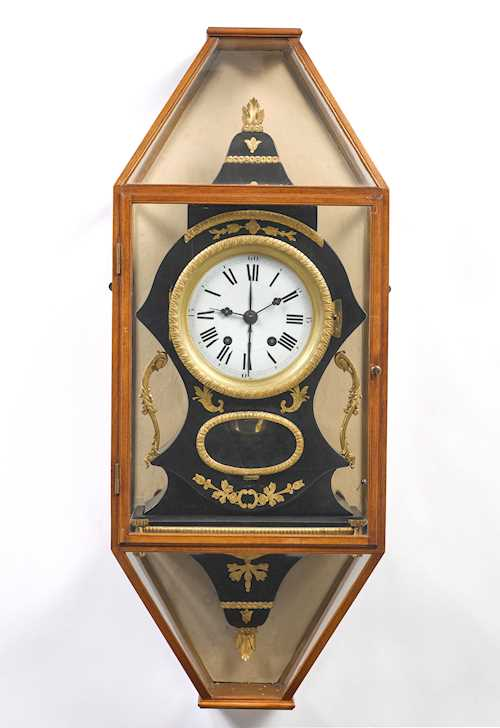 PAINTED PENDULUM CLOCK ON BASE, WITH ALARM, IN VITRINE CABINET,