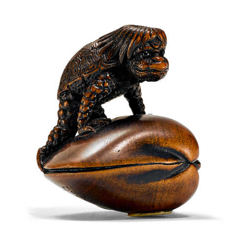 A BOXWOOD NETSUKE OF KAPPA ON A VENUS SHELL.