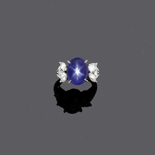 STAR SAPPHIRE AND DIAMOND RING, BY E. MEISTER, ca. 1980.