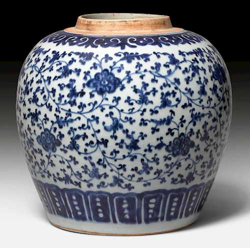 A BLUE AND WHITE GINGER JAR.