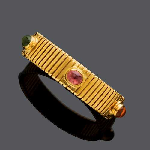 MULTIGEM AND GOLD BANGLE, BY BULGARI.