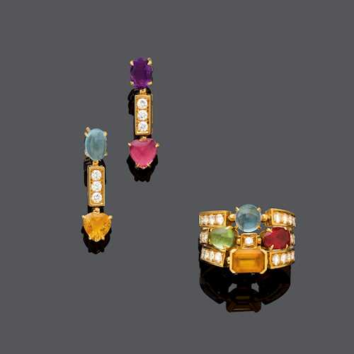 MULTIGEM AND DIAMOND EAR PENDANTS WITH RING, BY BULGARI.