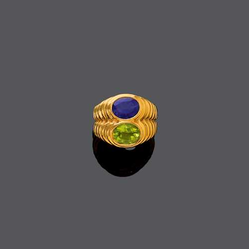 MULTIGEM AND GOLD RING, BY BULGARI.