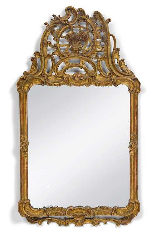 CARVED AND GILT ROCOCO MIRROR