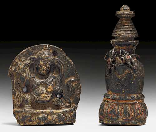 TWO MINIATURE STONE SCULPTURES.