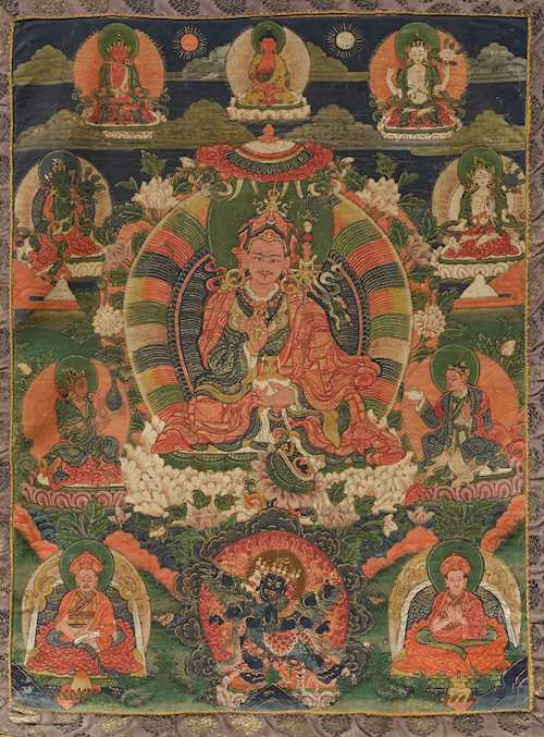 A THANGKA OF PADMASAMBHAVA.