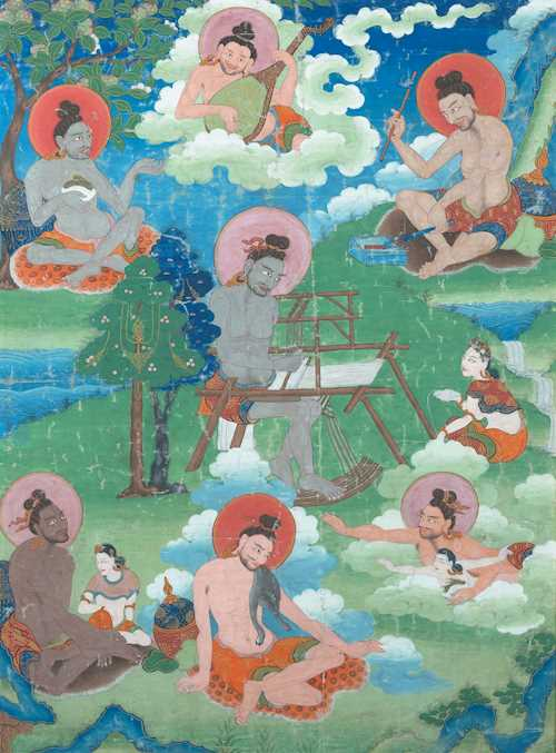 A FINE THANGKA OF SEVEN SIDDHAS.
